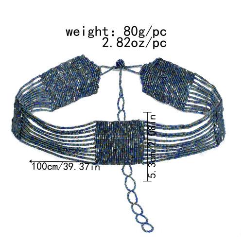 N-7506 Bohemian style black rice bead waist chain beach belly dance sexy belt belly jewelry