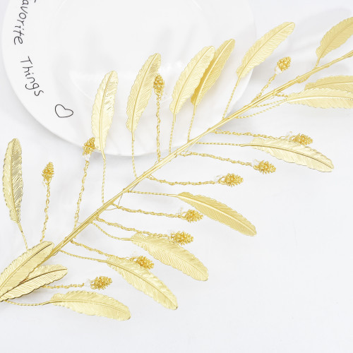 F-0865 Metal Products Pearl Gold Leaf Plastic Headdress Ladies Wedding Party Performance Jewelry Accessories