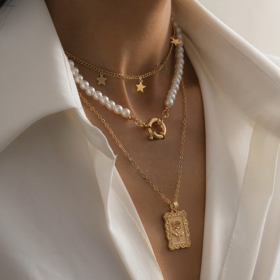 N-7510 Layered  Artificial Pearl Choker Necklaces for Women Star Rose Pendant Necklace  Link Chain