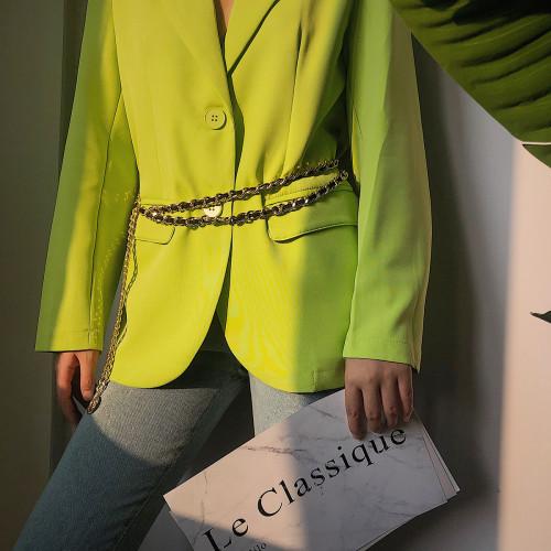 N-7509 Women Fashion Belly Belt Hip High Waist Gold Narrow Metal Chain Chunky Fringes Crystal Diamond Waist Chain Belt