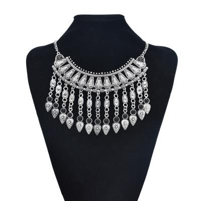 N-7513 Bohemian Ethnic Silver Vintage Necklace Gypsy Butterfly Sun God Pattern Vintage Jewelry