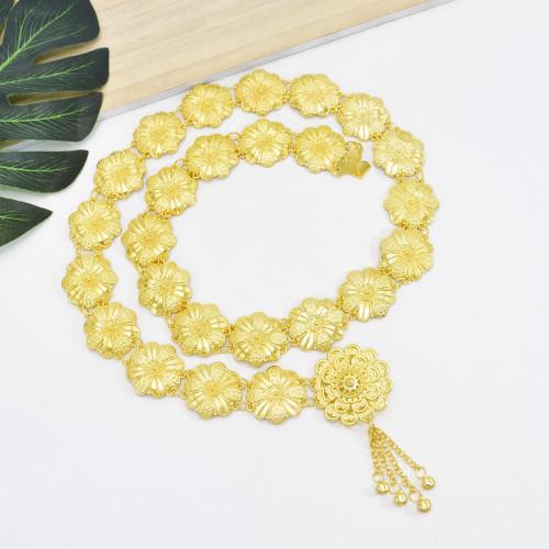 N-7514 Fashion Bohemian Gold Metal Belly Chains Carved Flower Bikini Dance Waist Chain Festival Body Jewelry