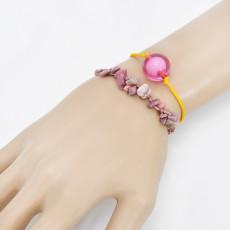 B-1105 2Pcs/set New Summer Rope Woven Handmade Acrylic Stone Bracelets for Women Bohemian Party Jewelry