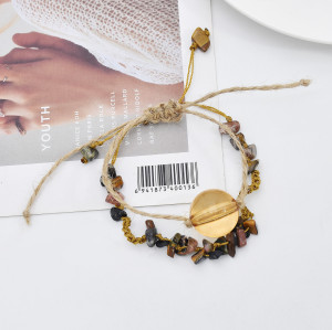 B-1105 2Pcs/set New Summer Rope Woven Handmade Acrylic Stone Bracelets for Women Bohemian Party Jewelry