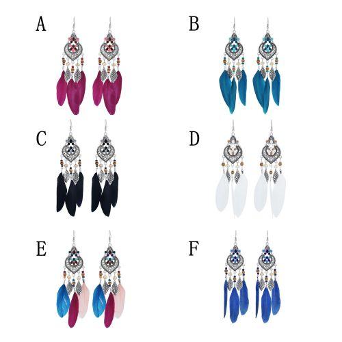 E-6077 Bohemian Metal Leaf Shape Feather Pendant Earrings Silver Metal Hollow Carved Fashion Earrings