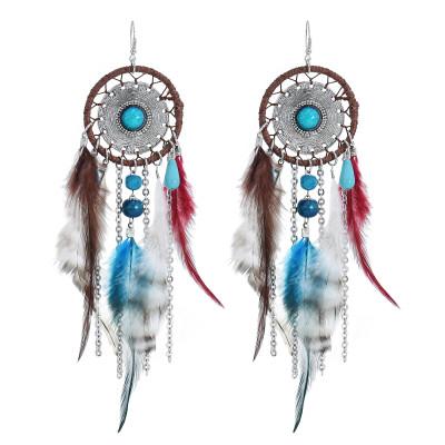 E-4470 Bohemia Statement Earring Feather Acrylic Stone Long Metal Tassel Handmade Resin Beaded Pendant Drop Dangle Earrings for Women Jewelry