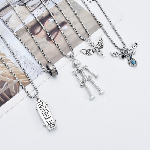N-7517 Bohemia Metal Chain Iced out Jewelry Big Angel Necklace Women Shiny elk Shape Necklace