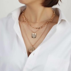N-7519 Layered Gold Silver Link Choker Necklaces for Women Star Coin Pendant Necklace Link Chain