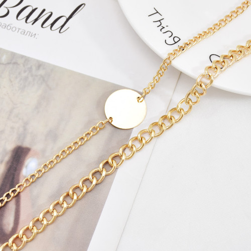 N-7520 Layered Gold Silver Link Choker Necklaces for Women Star Coin Pendant Necklace Link Chain