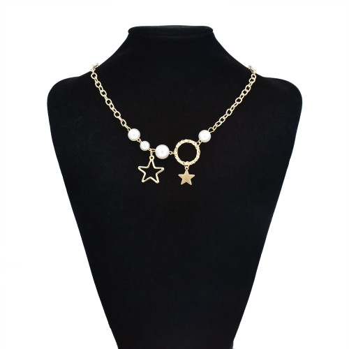 N-7521 4Styles Multilayers Pearl Star Geometric Gold Chain Necklaces for Women Bohemian Party Jewelry Gift