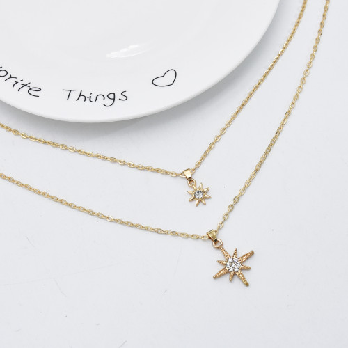 N-7522 Fashion Bohemian Multilayer Pearl Star Geometric Gold Chain Necklaces for Women Party Jewelry Gift