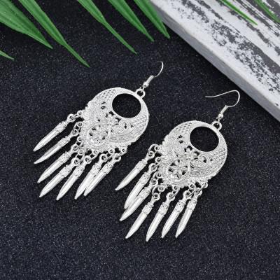 E-6083 Bohemian silver metal carved water drop shape tassel earrings ethnic silver jewelry accessories