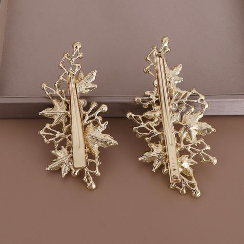 F-0876 A pair of European and American hot-selling leaf pearl hairpin bridal rhinestone hairpin headdress set