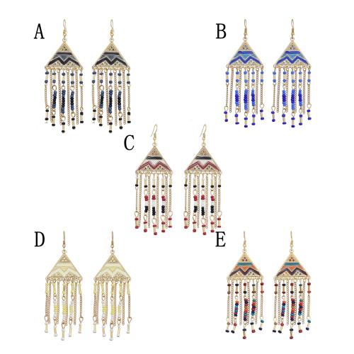 E-6085 Ethnic Bohemian Geometric Resin Beads Long Tassel Drop Earrings for Women Handmade Party Jewelry