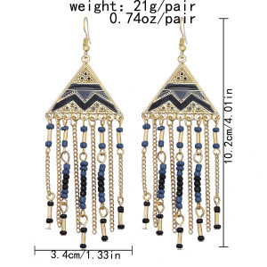 E-6085 Ethnic Bohemian Geometric Resin Beads Long Tassel Drop Earrings for Women Handmade Party Jewelry