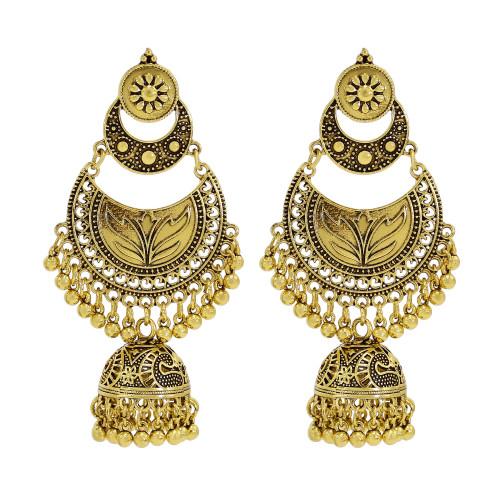 E-6084 Bohemian Style Antique Gold Silver Metal Pendant Women's Hollow Earrings Indian Style Geometric Carving Ethnic Earrings
