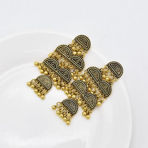 E-6087 Bohemian Vintage Antique Metal Bell Drop Jhumki Earrings Indian Bollywood Oxidized Silver Plated Bahubali Jhumka Earrings