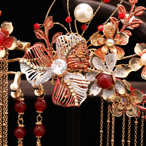 F-0868 Red Chinese Wedding Bridal Hair Ornaments Branch-shaped Long Tassel Wedding Dress Accessories
