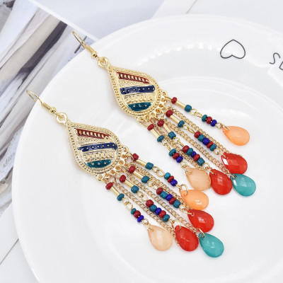 E-6093 European and American fashion ladies multi-color bohemian style crystal tassel earrings classic antique silver-plated rhinestone earrings