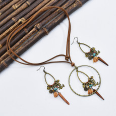 N-7527 Bohemian style vintage bronze flower and bird turquoise pendant brown suede chain necklace earrings jewelry set