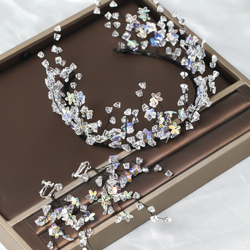 F-0872 Hand-woven flower beaded headband earrings bridal wedding and actor stage performance super flashing accessories set