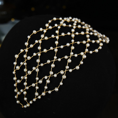 F-0873 Fashion Women Gold Plated Pearl Headband Hairband Hair Party Holiday Wedding Accessories Jewelry