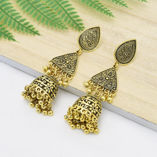 E-6099 Indian ethnic style vintage gold and silver metal pendant women's hollow earrings Bohemia style geometric engraving ethnic earrings