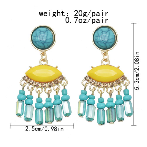 E-6102 European and American ethnic style alloy inlaid resin eye shape rice beads long tassel earrings retro design cold wind jewelry