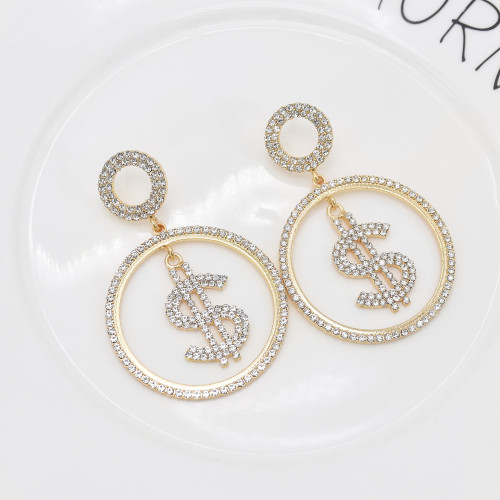 E-6104 Fashion Rhinestone Dollar Dangle Earrings for Women Gold Silver Big Round Hoop Earrings Party Jewelry Gift