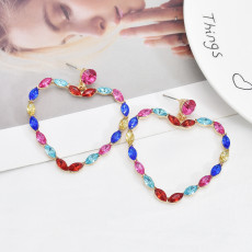 E-6105 Fashionable simple European and American style exaggerated heart-shaped diamond earrings