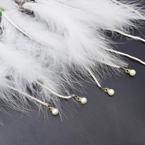 F-0874 Bohemian Style Feather Headband Hair Ornament Beads Feather Headdress Handmade Jewelry Headdress