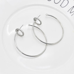 E-6108 New simple large circle gold silver diamond earrings European and American fashion show thin face jewelry