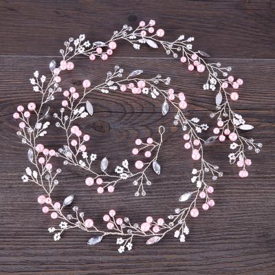 F-0877 Romantic Pink Pearl Crystal Headbands for Bridal Handmade Wedding Engagement Hair Accessories