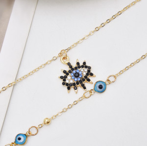 European Fashion Gold Plating Full Diamond Round Pendant Necklace Cubic Zirconia Blue Evil Eyes Necklace For Women