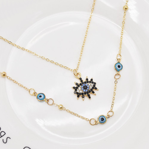 N-7529 European Fashion Gold Plating Full Diamond Round Pendant Necklace Cubic Zirconia Blue Evil Eyes Necklace For Women