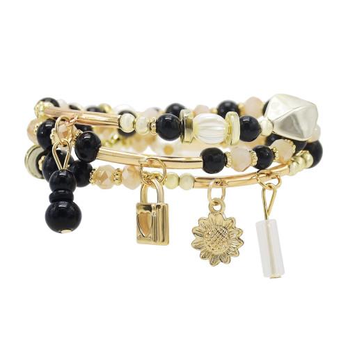 B-1110 3Pcs/Set Bohemian Beach Acrylic Beads Flower Moon Star Lock Charms Bracelets For Women Party Jewelry Gift