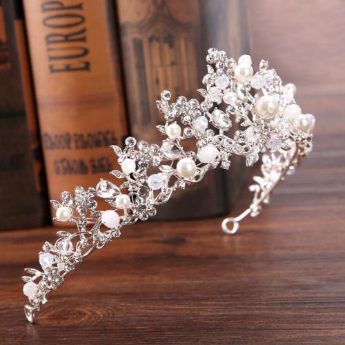 F-0878 Bride Pearl Zircon Handmade Crown Silver Branch Princess Crown Tiara Crown Headband Birthday Crown Hair Accessories
