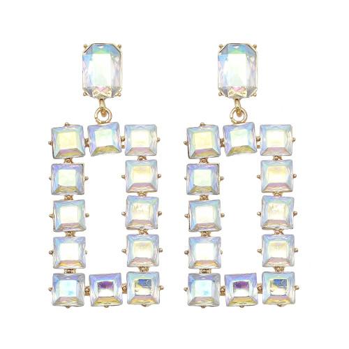 E-6110 New Trendy Geometric Crystal Rhinestone Drop Earrings for Women Bridal Wedding Party Summer Jewelry Gift