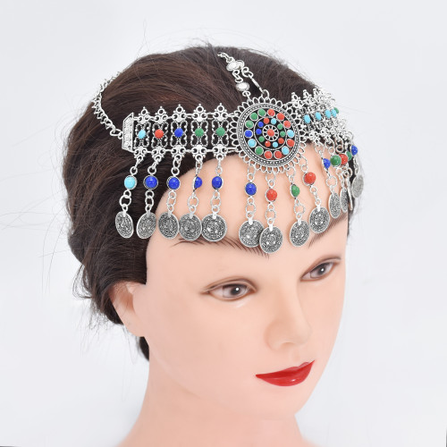 F-0880 Women Colorful Beads Coin Tassel Belly Dance Head Chain Costume Gypsy Maang Tikka Costume Jewelry