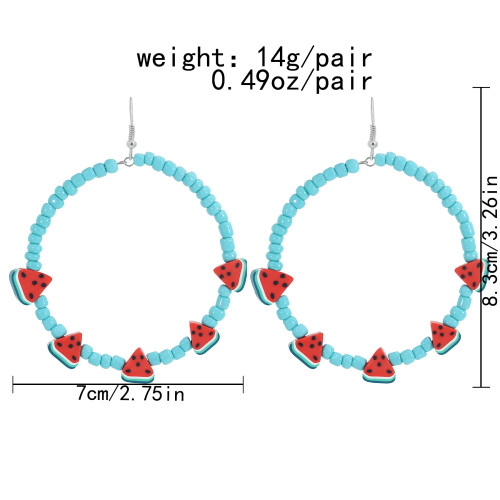 E-6111 New rice beads watermelon slice earrings hoop Bohemian ethnic exaggerated big circle earrings summer refreshing beach party jewelry