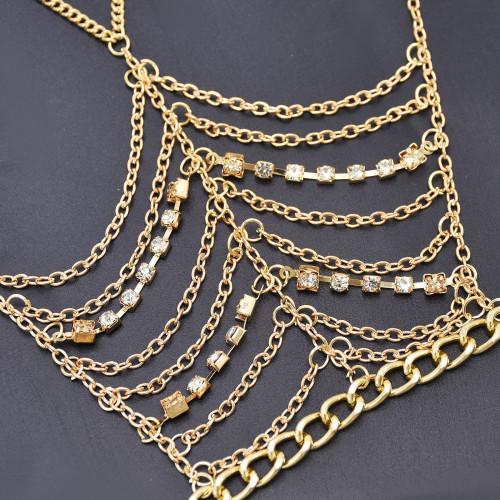 B-1111 Bohemian Style Personality Crown Rhinestone Overlap Chain Bracelet Women's Party Jewelry Gift