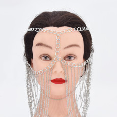 F-0884 Punk Metal Tassel Chain Face Party Jewelry Headbands For Women Mask Chain Decoration Dance Costume Accessories