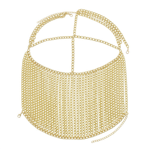 F-0885 New Fashion Ladies Gold Metal Chain Multilayer Tassel Head Chain Face Ornaments and Headwear Halloween Gifts