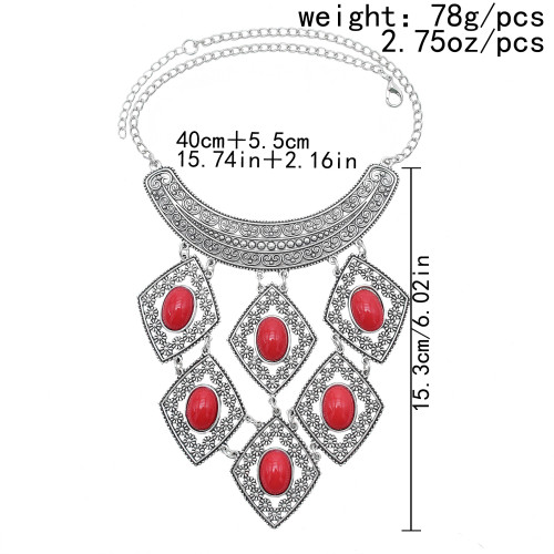 N-7535 Bohemian Gypsy Love Affair Necklace Silver Choker Bib Chunky Statement Fringe Turkish turquoise Necklace Jewelry