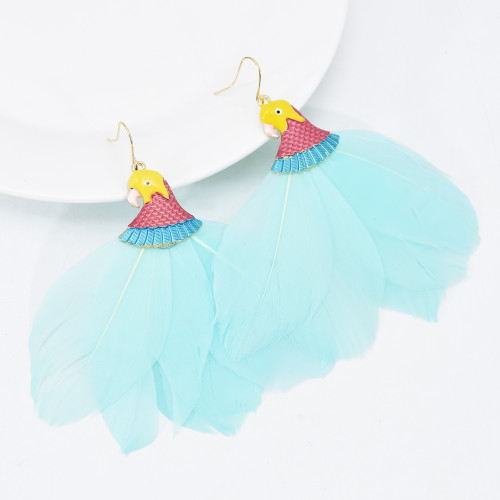 E-6115 Fashion Boho Parrot Birds Drip Oil Feather Dangle Drop Earrings for Women Party Statement Jewelry Gift