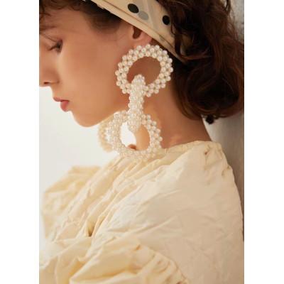 E-6116 Bohemian Resin Beads Dangle Earrings Handmade Statement Geometric Big Drop Earrings For Women Jewelry