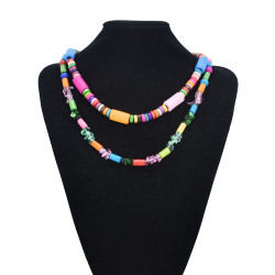 N-7536 Bohemian style colored wood irregular geometry beaded necklace African indigenous ethnic ethnic tribe retro ladies double necklace jewelry