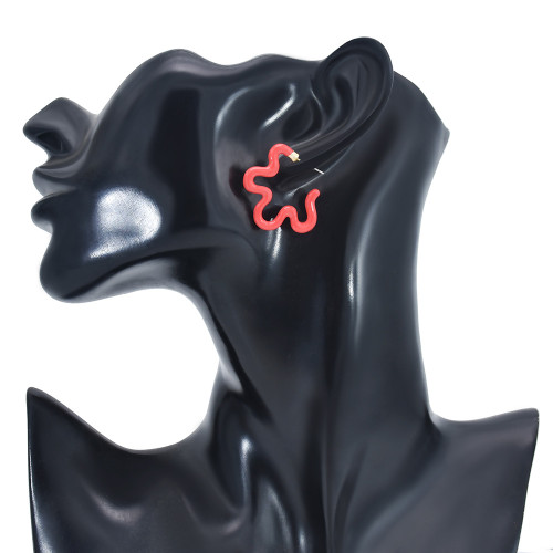 E-6118 New Summer Red Pink Blue Enamel Geometric Stud Earrings for Women Girl Beach Party Jewelry Gift