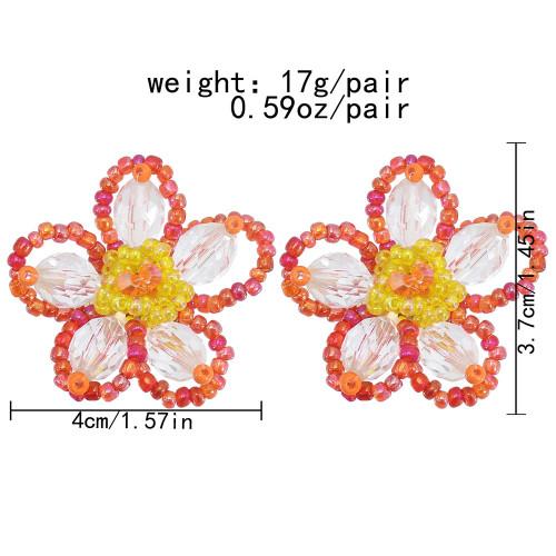 E-6120 Fashion Design Jewelry Korean Handmade Friendly Acrylic Flower Bead Rattan Earring for Women
