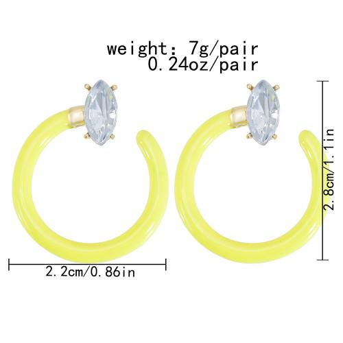 E-6121 European and American fashion simple white yellow enamel crystal earrings new popular street style earrings jewelry